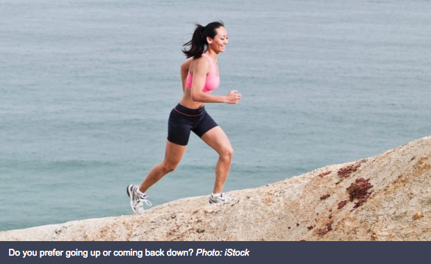 Why running uphills is easier than down