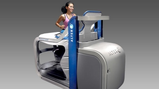The AlterG anti-gravity treadmill allows injured athletes to start running again through reducing gravity's impact.